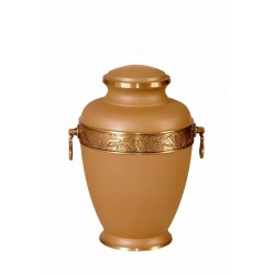 Warm Beige Matt Solid Brass Funeral Cremation Ashes Urn for Adult (301)