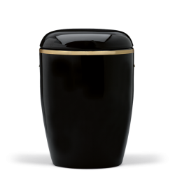 Black Ceramic with Brushed Gold Band Funeral Cremation Ashes Urn for Adult (415)