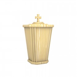Pine Lantern Shape Wood with Catholic Cross Funeral Cremation Ashes Urn for Adult (223)