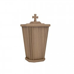 Oak Lantern Shape Wood with Catholic Cross Funeral Cremation Ashes Urn for Adult (222)