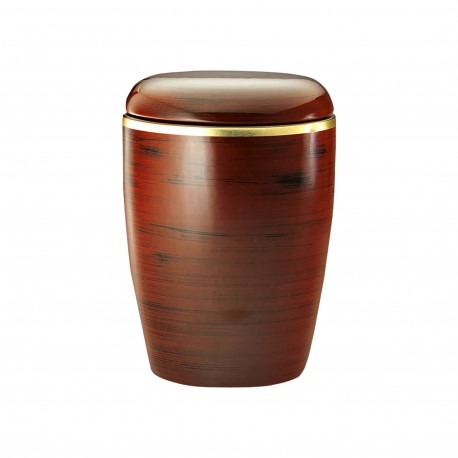 Ceramic with Maple Wood Imitation Finish and Brushed Gold Band Funeral Cremation Ashes Urn for Adult (403)