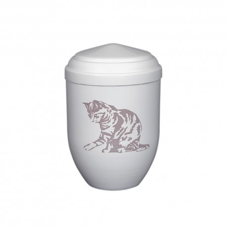 White Copper with Big Cat Funeral Cremation Ashes Urns for Pets (378)