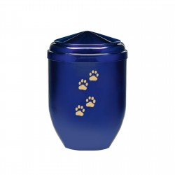 Blue Copper with Gold Paw Funeral Cremation Ashes Urns for Pets (379)