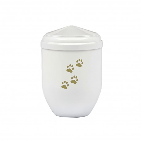 White Copper with Gold Paw Funeral Cremation Ashes Urns for Pets (380)