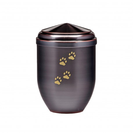 Galvanized Copper with Gold Paw Funeral Cremation Ashes Urns for Pets (381)