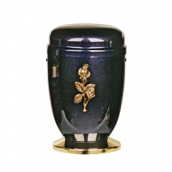 Cobalt Blue Mother Of Pearl Steel with Single Rose Brass Emblem Funeral Cremation Ashes Urn for Adult (717b)
