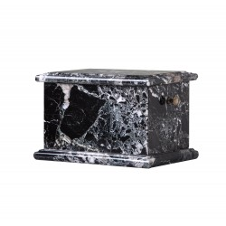 Stone Casket Black Zebra Marble Funeral Cremation Ashes Urn for Adult (102)