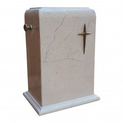 Stone Botticino Marble with Brass Cross Funeral Cremation Ashes Urn for Adult (129)