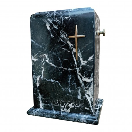 Stone Black Zebra Marble with Brass Cross Funeral Cremation Ashes Urn for Adult (130)