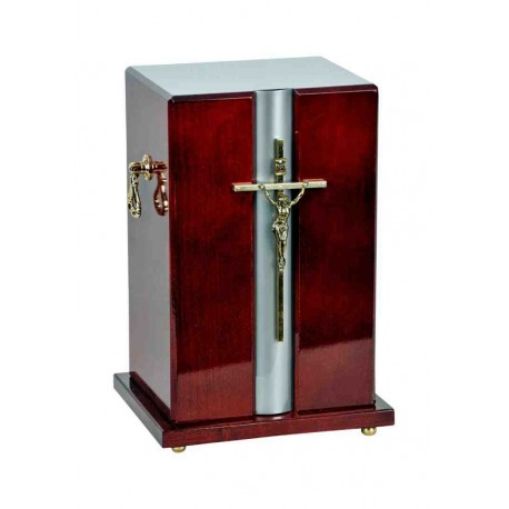 Catholic Cross Dark Mahogany Solid Wood Funeral Cremation Ashes Urn for Adult (908)