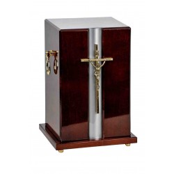 Catholic Cross Dark Mahogany Solid Wood Funeral Cremation Ashes Urn Adult (903)