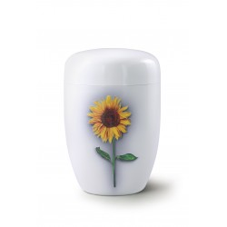 Fall in Leaves - Steel Design Sunflower Exclusive Series Fleur Blanche Brilliant White Cremation Ashes Urns for Adult (34FW)