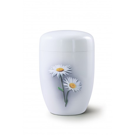 Fall in Leaves - Steel Design Marguerite Exclusive Series Fleur Blanche Brilliant White Cremation Ashes Urns for Adult (35FW)