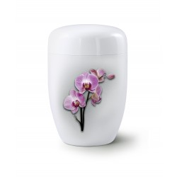 Fall in Leaves - Steel Design Orchid Exclusive Series Fleur Blanche Brilliant White Cremation Ashes Urns for Adult (36FW)