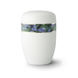 White Metal with forget-me-not Flower Band Funeral Cremation Ashes Urn for Adult (19FW)