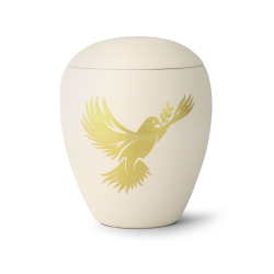 Natural Ceramic Dove Hand-Painted Funeral Cremation Ashes Urn for Adult (65-6000-104)