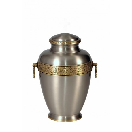 Silver Solid Brass Funeral Cremation Ashes Urn for Adult (304)