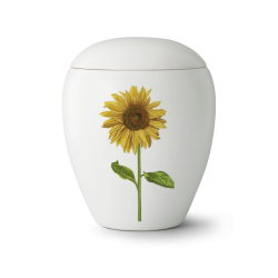 Edition Bianco Ceramic White with Sunflower Funeral Cremation Ashes Urn for Adult (65-6000-1)
