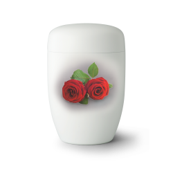 White Steel Metal with Two Red Roses and Leafs Funeral Cremation Ashes Urn for Adult (756)