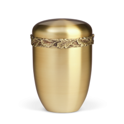 Gold Steel with Leaf Motif Band Funeral Cremation Ashes Urn for Adult (757)